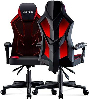 UOMAX Chaise Gaming, Coussin Plat Large Fauteuil de Bureau Gamer avec éclairage LED, Support Lombaire Fauteuil Ergonomique av