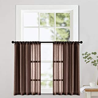 MRTREES Sheer Tier Curtains 36 inch Length Kitchen Tiers Light Filtering Short Voile Sheers Bathroom Small Window Curtain Panels Rod Pocket Brown 2 Panels