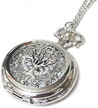 CaseCarnival Tree of Life Ornate Silver Pocket Watch Necklace Chain Pendant - Giving Tree Pocketwatch Charm