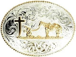Crumrine Men's Engraved Praying Cowboy Belt Buckle Silver One Size