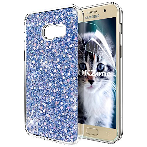 OKZone Coque Samsung Galaxy A5 2017, Mince Étui en Silicone Souple Paillette Strass Brillante Bling Bling Glitter de Luxe,Flexible Plein-Corps TPU de Protection pour Samsung Galaxy A5 2017 (Bleu)