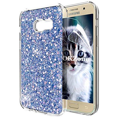 OKZone Coque Samsung Galaxy A5 2017, Mince Étui en Silicone Souple Paillette Strass Brillante Bling Bling Glitter de, Flexible Plein-Corps TPU de Protection pour Samsung Galaxy A5 2017 (Bleu)