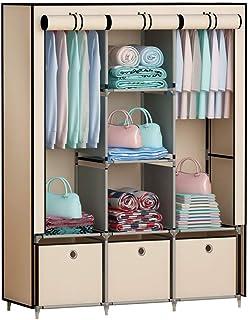 GHQME Armoire en tissu avec 3 tiroirs, organiseur portable avec compartiments et barres (beige, 125 x 43,9 x 162,1 cm)