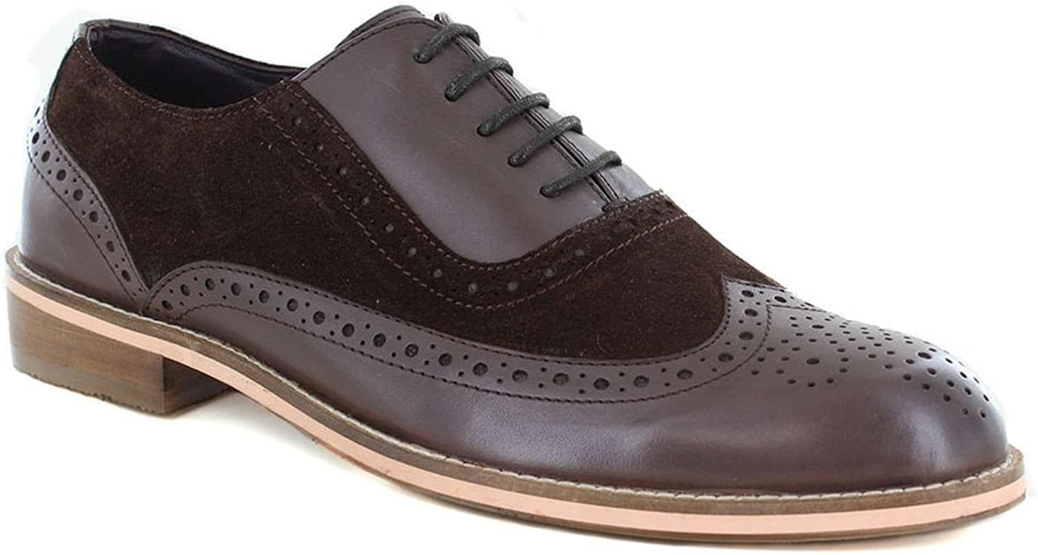 Paolo Vandini Saxby Mens Premium Leather & Suede Brogue shoes - Brown