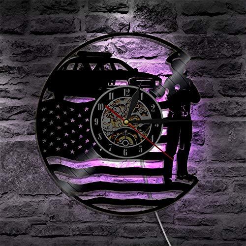GVC Policeman - Reloj de pared de vinilo con batería LED con lámpara de control remoto, siete colores que cambian silenciosos