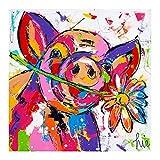 HYFBH Leinwanddruck Buntes Schwein Tier Ölgemälde