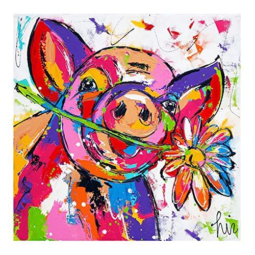 HYFBH Leinwanddruck Buntes Schwein Tier Ölgemälde Wandkunst Graffiti Poster Drucke auf Leinwand Bild für Kinder Babyzimmer Wohnkultur 40x40cm (16x16 Zoll) Mit Rahmen