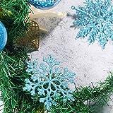 50 Stücke Kunststoff Funkeln Schneeflocken Ornamente für Weihnachten Dekoration, Verschiedene Größen (Blau Glitzer) - 7