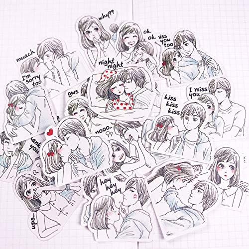FENGLING Cute Kawaii Couple Lovers Scrapbooking Stickers DIY Craft Decoracion Journal Photo Albums Decoration Sticker20/Pack