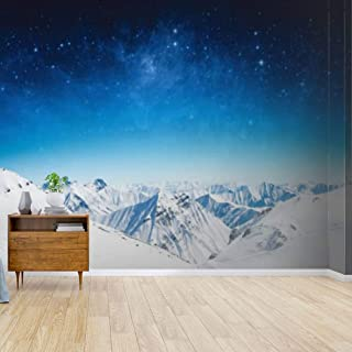EFTOWEL Decorative Wallpaper Winter Sky Stars and The Snow-Capped Mountains Peel and Stick Wallpaper Self-Adhesive Mural Paper Removable Sticker Self Stick Wall Mural for Living Room