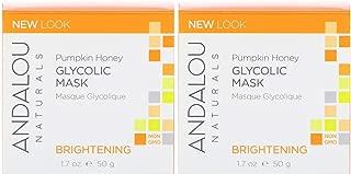 Andalou Naturals Brightening Pumpkin Glycolic Mask (Pack Of 2) With Aloe vera, Manuka Honey, Sunflower, Meadowfoam, Apple, Vitamin C, Pineapple, Lemon, Nutmeg, Roobois, Clove and Cinnamon, 1.7 oz. eac