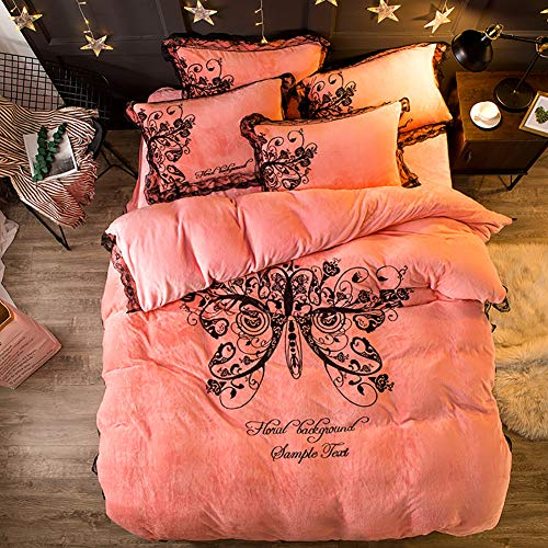 MNBVC Duvet Sets,Luxury Butterfly Print Flannel Velvet Bedding Set Cute Quilt Sheets Quilt Covers Sheets Queen Large Gray Pink