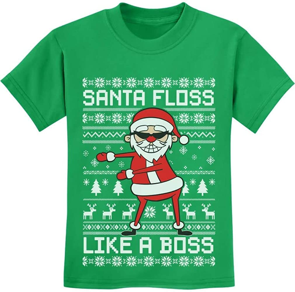 Santa Floss Like a Boss Funny Ugly Christmas Sweater Youth Kids T-Shirt