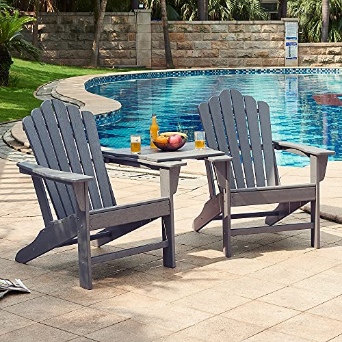 Ehomeline Classic Outdoor Adirondack Chairs with Connecting Plate Set of 3 for Garden Porch Patio Deck Backyard, Weather Resistant Accent Furniture, Slate Grey