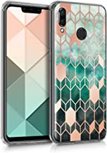 kwmobile Case Compatible with Huawei Nova 3 - TPU Crystal Clear Back Protective Cover IMD Design - Glory Blue/Rose Gold