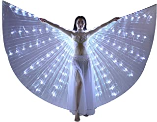 LED Isis Wings - Belly Dance Light Up Wings Party Club Wear with Flexible Sticks for Women/Girls