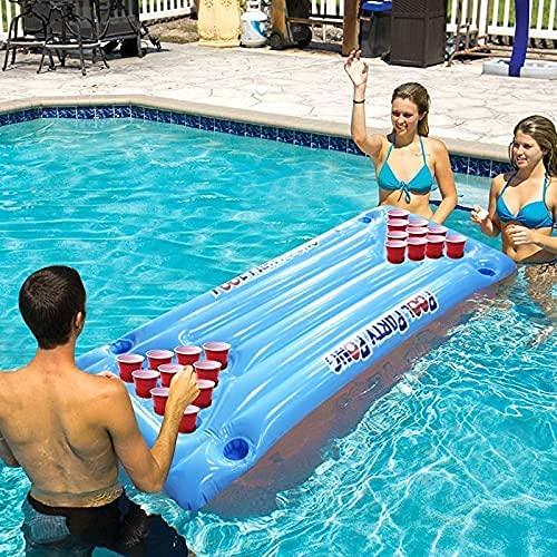 Aufblasbare Luftmatratze Beer Pong Luftmatratze Aufblasbar Bierpong Tisch Mit 24 Tassenlöchern Hochdichtem PVC Pool Party Boot Schwimmendes Bier Pong Float Biertisch Trinkspiel (57.08 X 23.62 zoll)