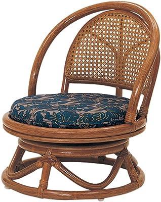 サンフラワーラタン コンパクト回転式座椅子 ネイビー ミドルタイプ 座面高23cm 花柄クッション C401HRE