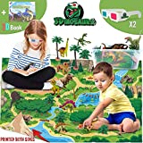 Dinosaur Toys - Realistic Dinosaur Figures Playset, Activity Play Mat & 3D Educational Book to Explore the Dinosaurs World Include T-Rex, Best Gifts for Kids Boys & Girls Age 3,4,5,6 Years Old & Up