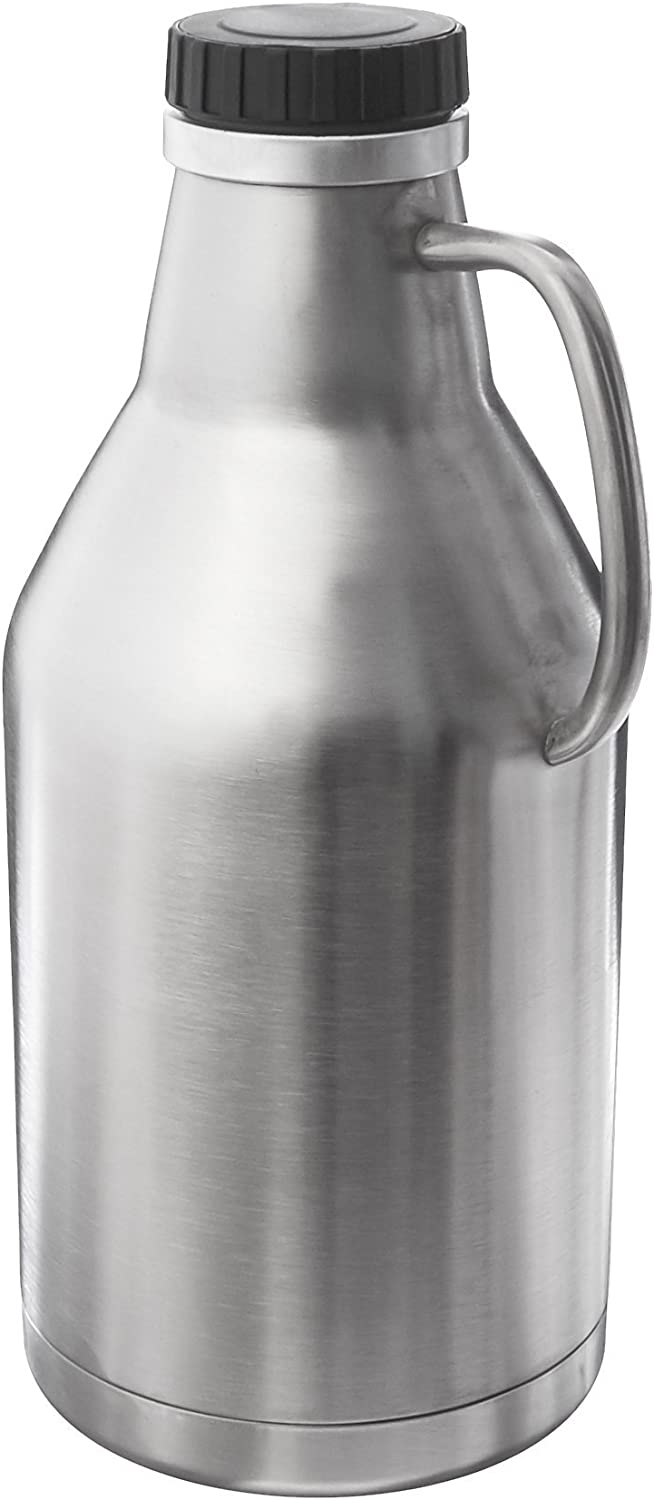 HomeBrewStuff 64oz Vacuum Insulated Double Walled Stainless Steel Growler with Handle