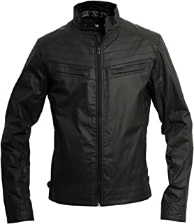 Crosshatch Mens Lightweight Faux Leather Biker Style Jacket - Stinging Black