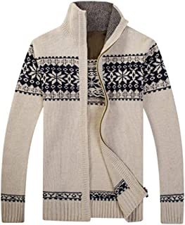 Mens Casual Cardigan Sweater Cable Knitted Zip Down Stand Collar Knitwear