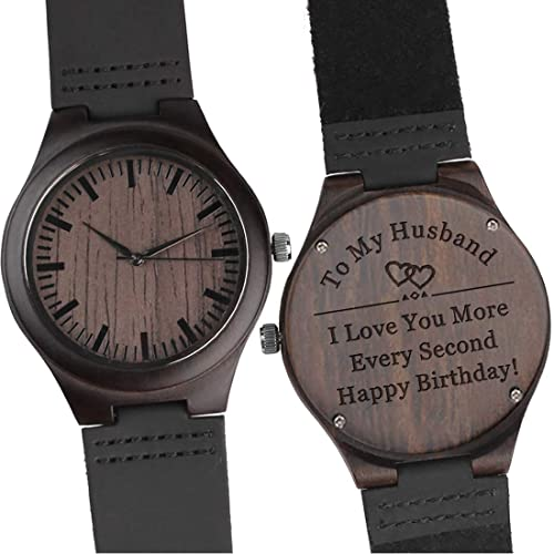 6c0f116bc48e6 Customized Engraved Wooden Watch Leather Strap Analog Quartz Lightweight  Wood Watch Husband Gifts Anniversary Gifts for