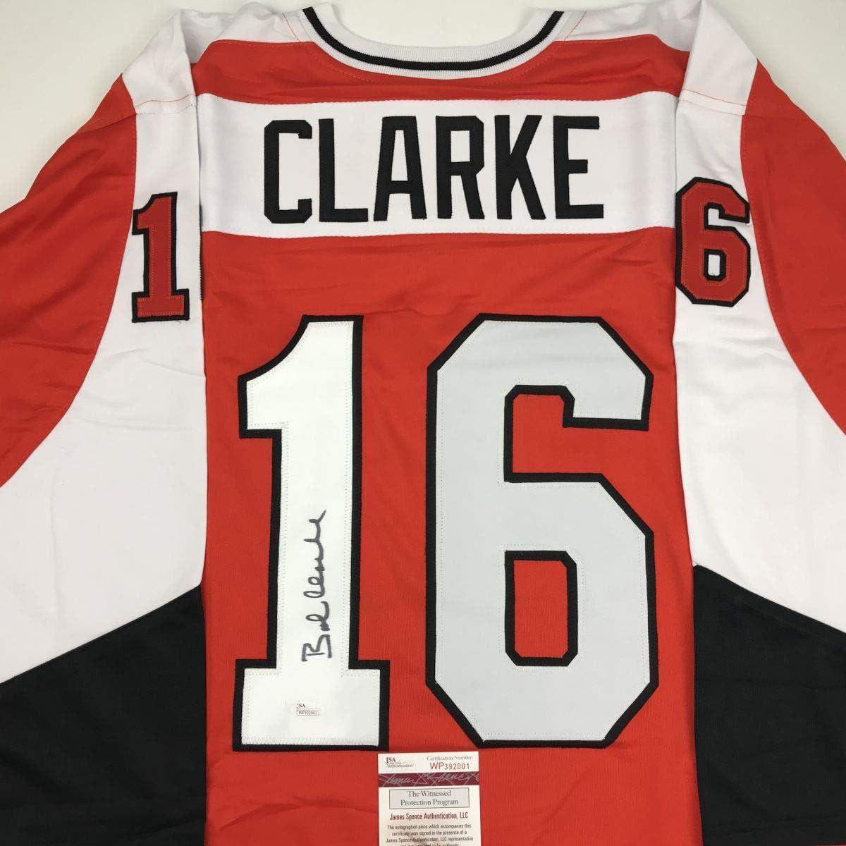 Autographed/Signed Bob Bobby Clarke Philadelphia Orange Hockey J