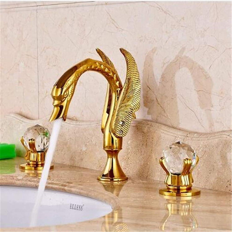Oudan Taps Kitchen Faucet Bathroom Tapsluxury Brass gold Polished Basin Faucet Bathroom Vessel Sink Tap Double Crystal Handles Mixer Tap (color   -, Size   -)