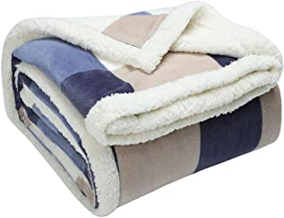 "uxcell Plaid Fleece Blanket Twin Size,Reversible Plush Flannel Blanket,Soft Warm Fuzzy Bed Blankets with White Berber for Bed/Couch/Sofa/Chair,59"" x 78"" (150 x 200 cm)"