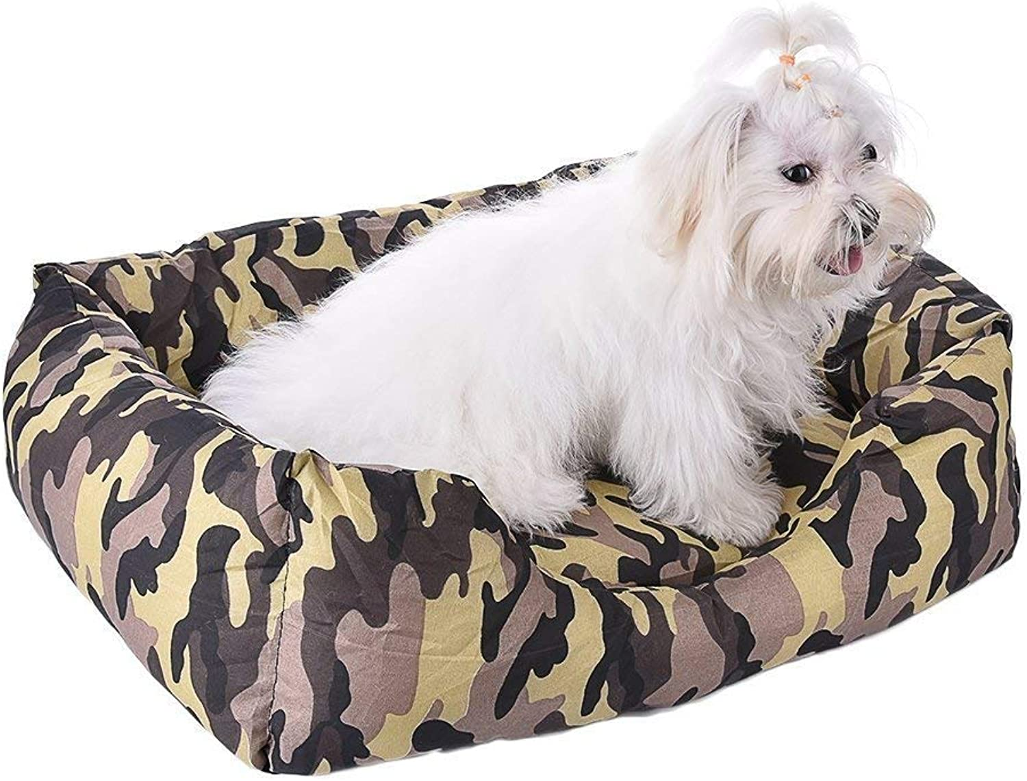 IANXI Home Dog Bed Cat Cave Lounge with Removable Bed Mat Camouflage Pet Beds Nests Universal Yellow M 49  41  15cm for Cat Dog
