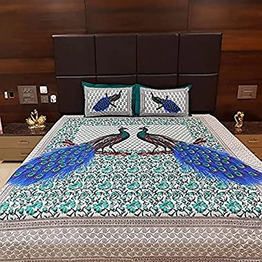 Banethi 100% Cotton Rajasthani Jaipuri Traditional King Size Double Bed Bedsheet with 2 Pillow Covers - Multi