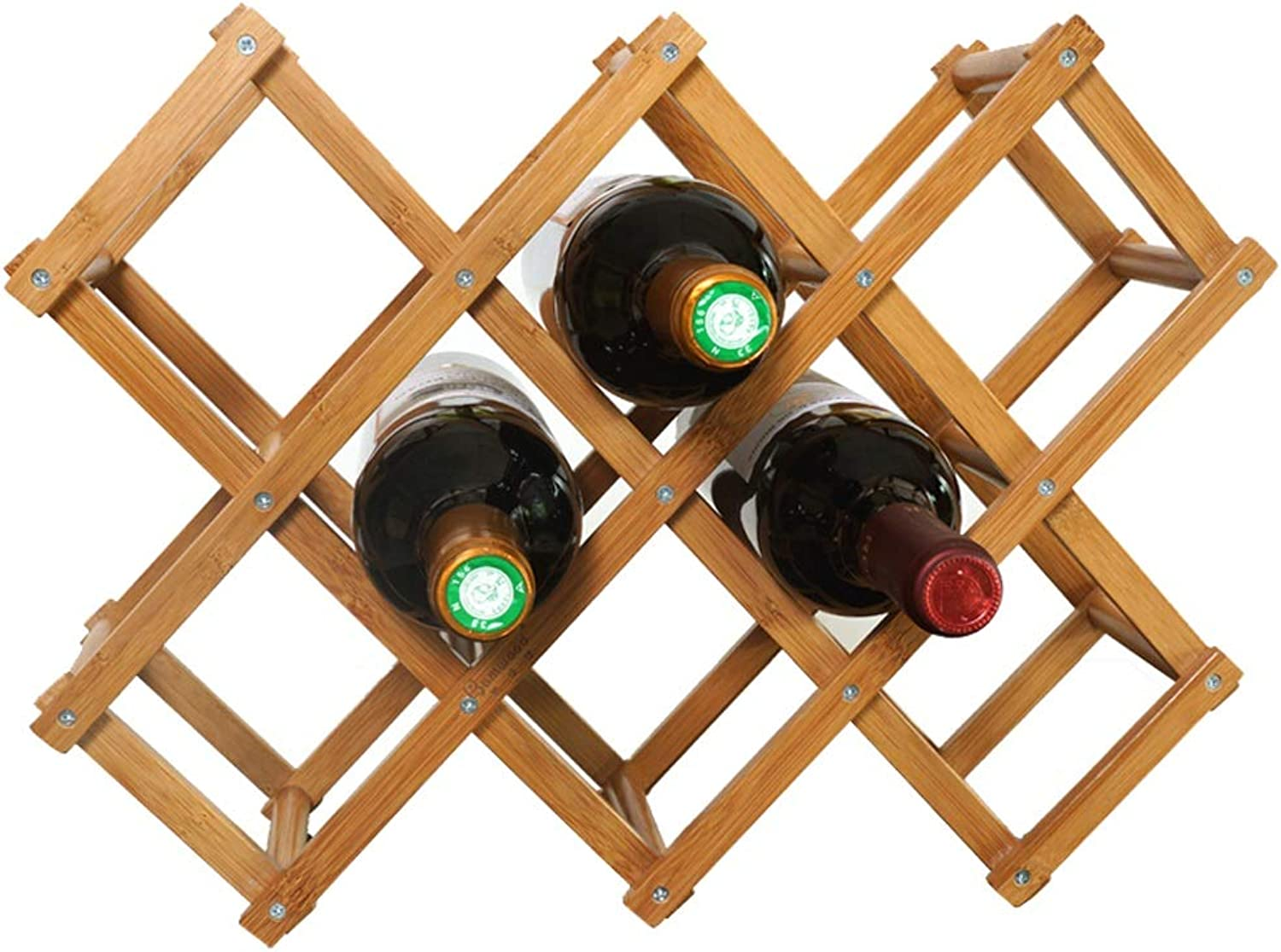 Foldable Bamboo Wine Rack Decoration Vintage Display Stand 31 X 30 X 12.5cm