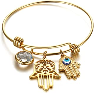 BEMI Luxury 18K Gold Hamsa Turkey Turquoise Blue Eyes Charms Bangles Fatima's Hand Bracelets for Women
