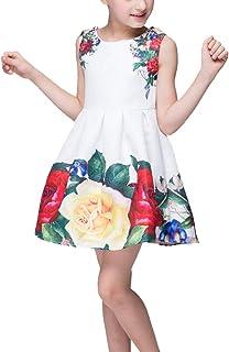 HAPPYJP ワンピース 子供 子供服 女の子 ワンピース ガールズ 花柄ドレス ワンピース フレア ノースリーブ