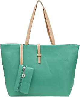 SODIAL Green Big Handbag Shoulder Bag PU Leather Tote with Small Wallet Bag for Women