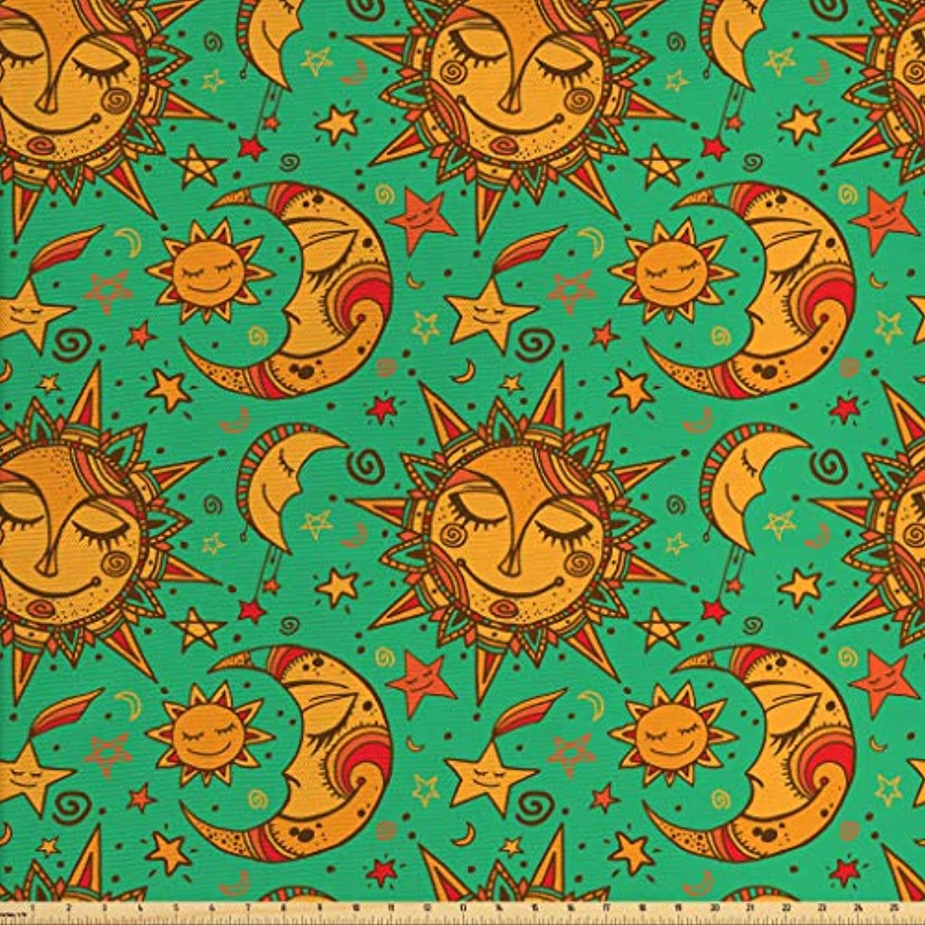 Lunarable Sun Moon Fabric The Yard, Celestial Pattern Tribal Inspirations Stars Faces, Decorative Fabric Upholstery Home Accents, 2 Yards, Sea Green Orange Marigold