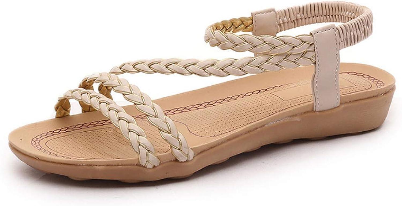 Women Flat Sandals Weaving String Ladies Casual shoes Ankle Strap Beach Female Walking Footwear