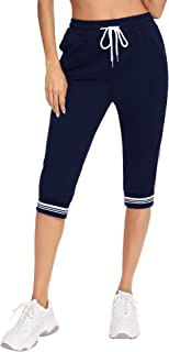 Irevial 3/4 Pantalones Deporte Mujer Casual Capri Pantalón Deporte Verano Pantalones Chándal con Cordón Ajustable y Bolsil...