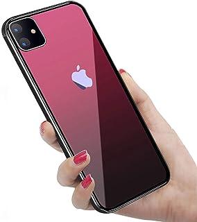 iPhone 11 ケース 強化ガラス 9H硬度加工 ガラスケース 薄型 6.1インチ 全透明グラデーション TPUバンパー 滑り止め 全面保護 ストラップホール付き 指紋防止 耐衝撃