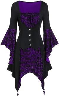 LONGDAY Womens Costumes Hooded Robe ce Uper High Low LongDress Cloak