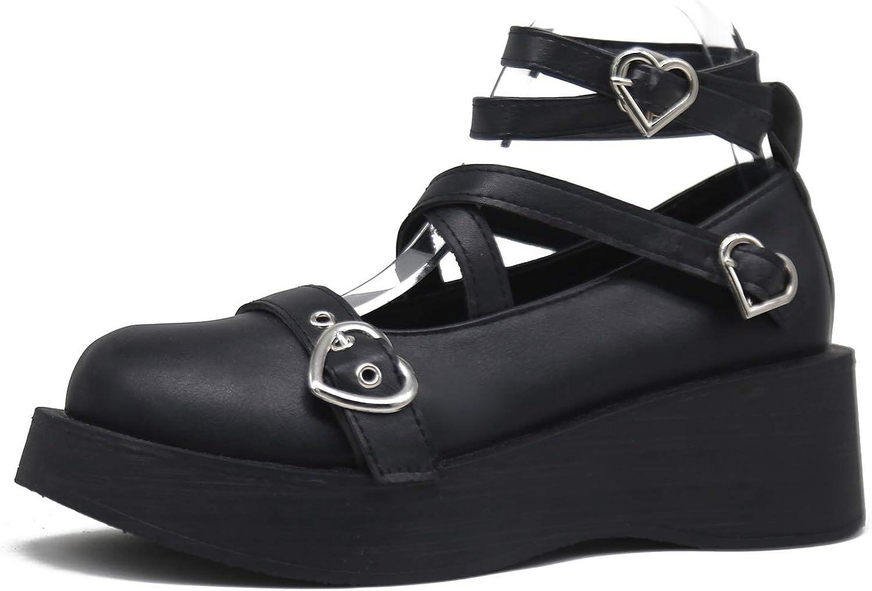 Erocalli Platform Pumps for Women Kawaii Lolits Shoes Gothic Ankle Strap Mary Jane Shoes Japanese Harajuku Shoes