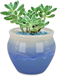 Dahlia 3.7'' Inch Rustic Drip Glazed Ceramic Planter/Succulent Pot/Plant Pot, Blue