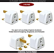 Hi-PLASST (3pcs) Universal UK Flat Pin 3Pin Travel Power Plugs Converter Adapter (Pack of 3)