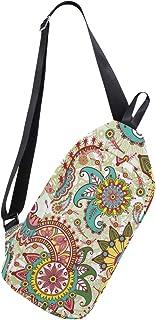 MASSIKOA Paisley and Flowers Shoulder Backpack Sling Chest Crossbody Bag Travel Hiking Daypack for Men Women