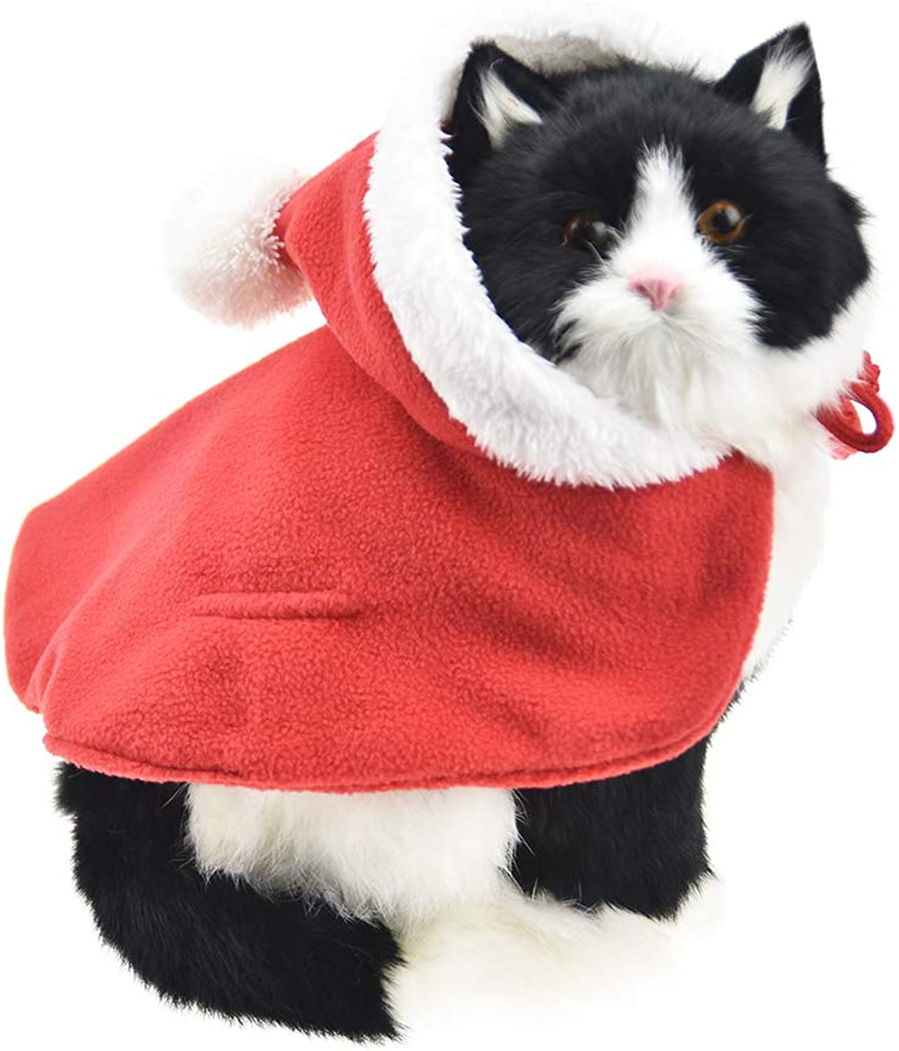 FLAdorepet Christmas Hat Santa Claus Cat Costumes for Kitten Small Dogs Pet Cape Winter Coat Warm Clothes (M, Red)