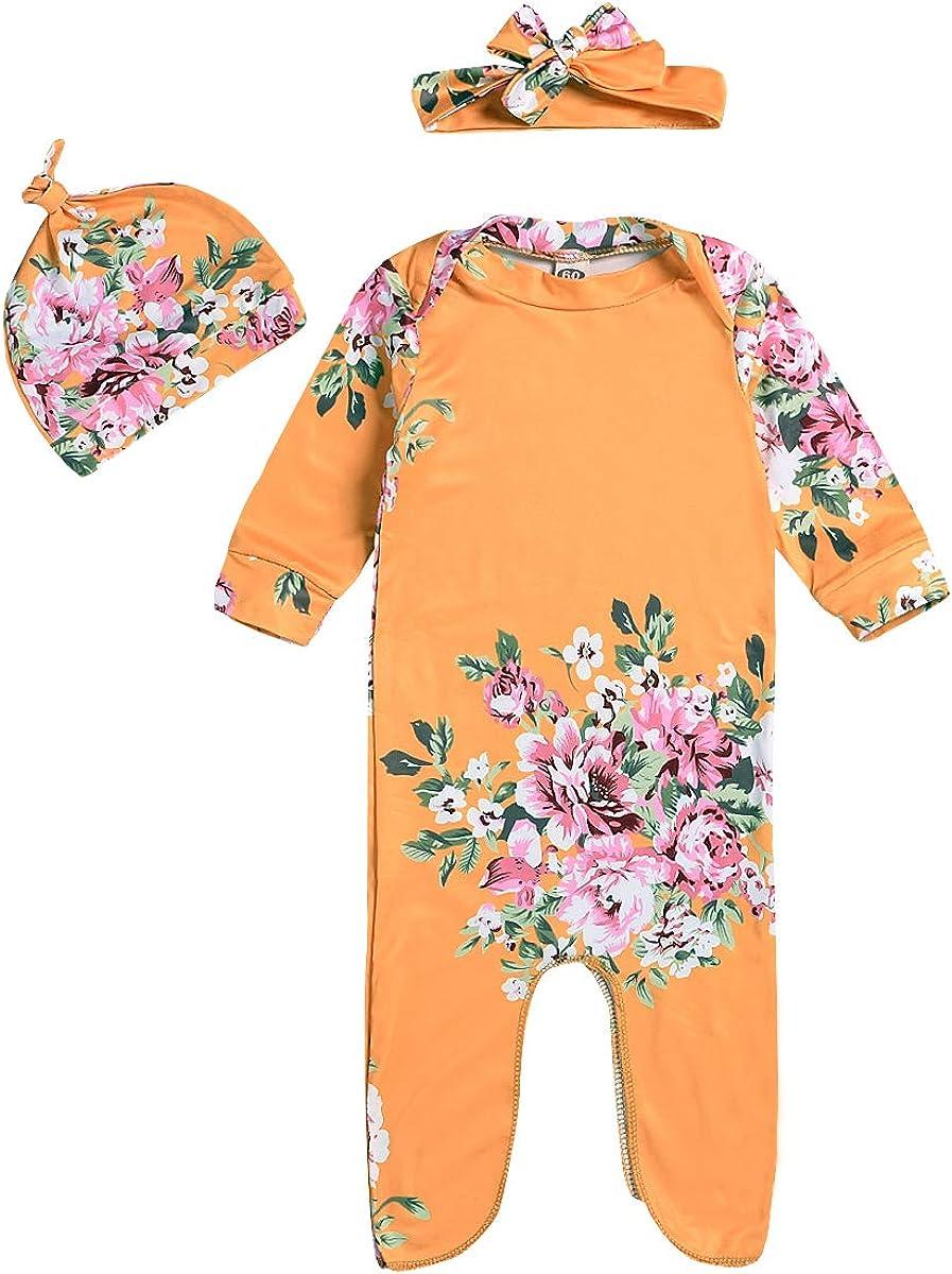 Newborn Baby Sleepy Floral Striped Gown Headband Hat Sleepwear Romper Sleeping Bags Coming Home Outfits