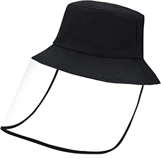 Bucket Sun Hat for Kid with Transparent Shield for Dustproof Windproof Sun,Travel (Black)