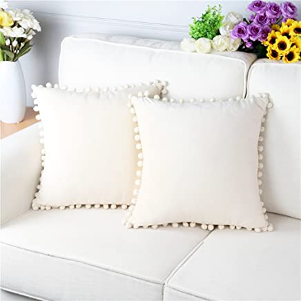 Topfinel Square Decorative Throw Pillow Covers Soft Velvet Outdoor Cushion Covers 18 X 18 with Balls for Sofa Bed 45 x 45 cm, Set of 2, Cream