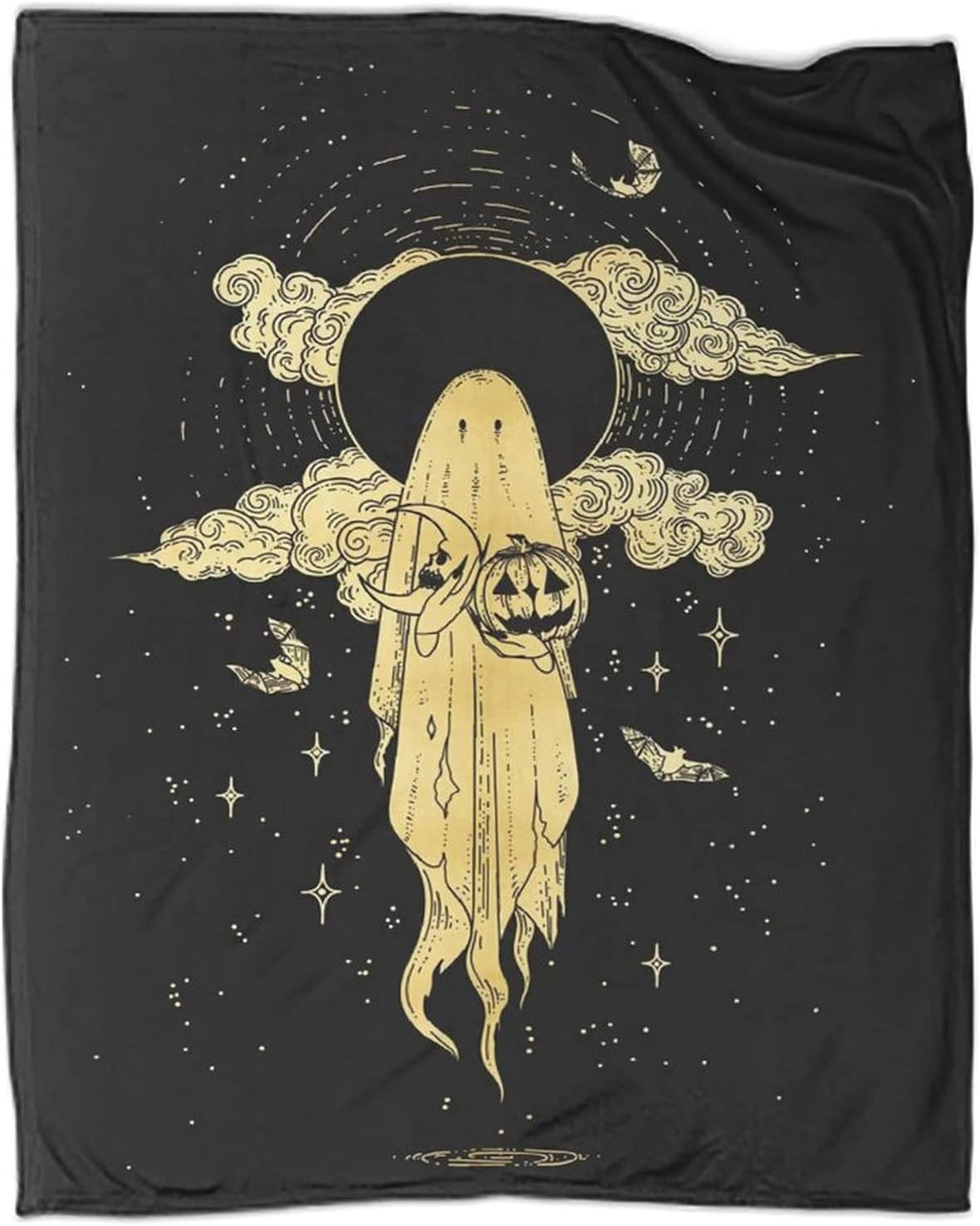 XXCC Fashion Black Gold Style Samhain Ghost Lightweight Blanket Su Throw Shipping included
